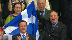 Alex Salmond waves Saltire