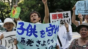 Protesters shout slogans during an anti-nuclear rally in front of the Nuclear Regulation Authority (NRA) in Tokyo, Monday, 8 July 2013