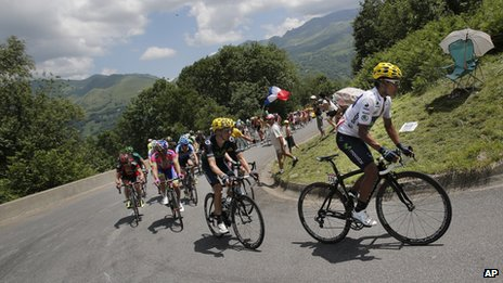 Tour de France cyclists in the Pyrenees in this year's race