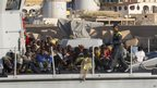 Immigrants on board boat in Lampedusa