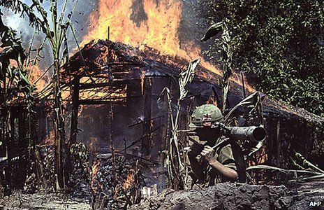 A Viet Cong base being burned in My Tho, Vietnam on 05 April, 1968.