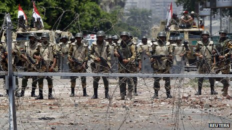 Army soldiers in Nasr City, Cairo, on 8 July 2013