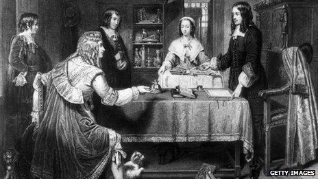 British politician Lord Danby (seated left) offers a bribe of 1,000 guineas to the British poet and MP Andrew Marvell - circa 1660
