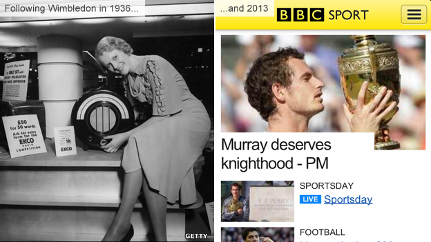 Radios in 1936 and the BBC Sport app in 2013