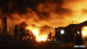 Fire from a train explosion is seen in Lac-Megantic on 6 July 2013