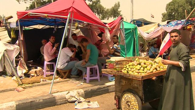 Makeshift camp in Nasr City district of eastern Cairo