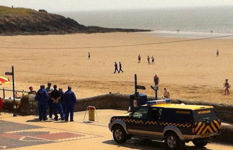 Coastguard team at Whitmore Bay, Barry Island