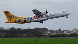Aurigny plane taking off from Guernsey Airport