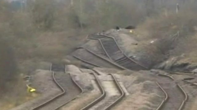Tracks pushed up by landslip