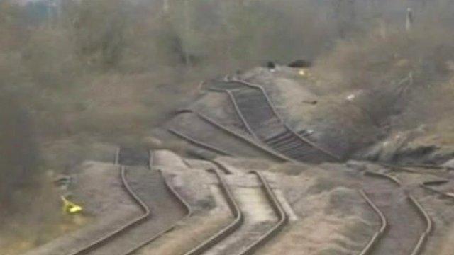 Tracks pushed up by landslip
