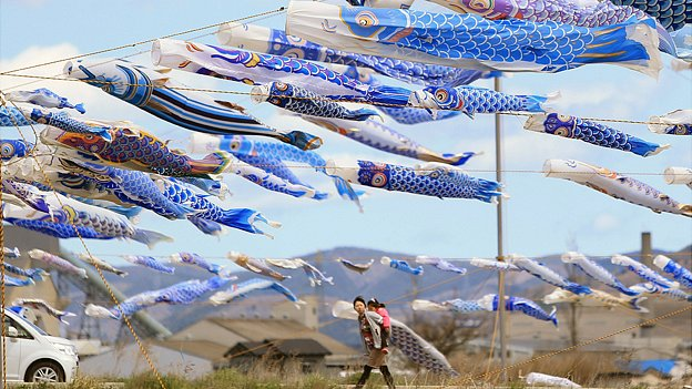 370 blue carp streamers hung to mourn children who died in Higashimatsushima, Miyagi prefecture