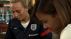 England players Toni Duggan (l) and Alex Scott (r)