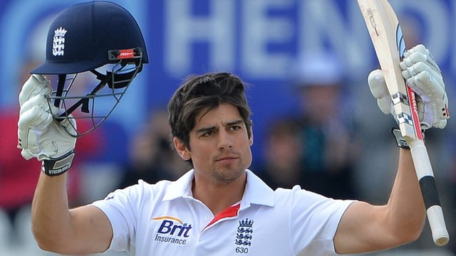 "A picture dated May 27, 2013 shows England""s Alastair Cook celebrating reaching his century during the fourth day""s play in the second international cricket Test match between England and New Zealand"