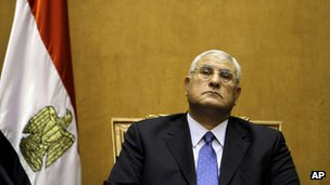 Interim Egyptian President Adly Mansour in Cairo (4 July 2013)