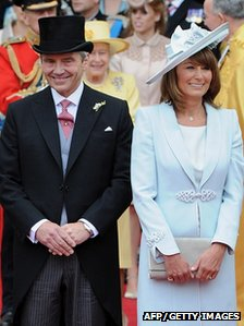 A picture dated 29 April 2011 of Michael and Carole Middleton, the parents of Catherine, Duchess of Cambridge, coming out of Westminster Abbey following the royal wedding
