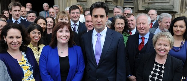 Ed Miliband and fellow MPs greet their most recent recruit to Labour ranks