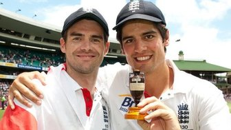James Anderson and Alistair Cooke with the Ashes trophy.