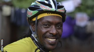 Kenyan cyclist David Kinjah