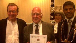 Bristol Mayor George Ferguson, Bristol Lord Mayor councillor Faruk Choudhury and sword bearer with Prof Higgs