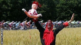 A Tour de France man dressed as the devil