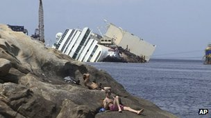 Costa Concordia off the coast of Giglio, Italy (8 July 2013)