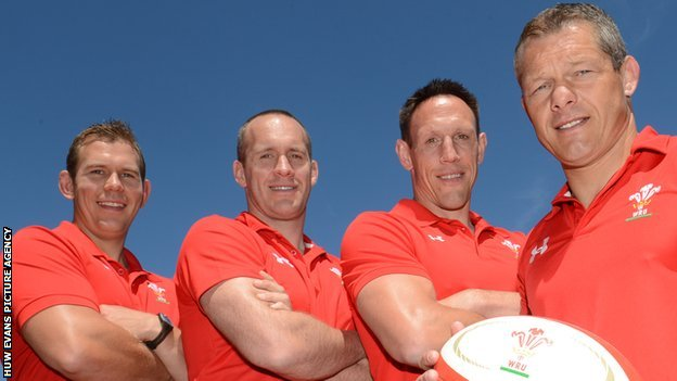 Wales under 20 head coach Byron Hayward (right) with assistants Ioan Cunningham and Richard Hodges and team manager Mark Taylor