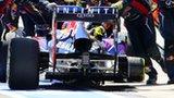 Mark Webber's car loses a wheel