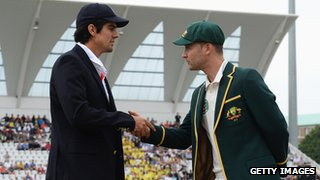 England captain Alastair Cook shakes hands with Australia captain Michael Clarke ahead of the frist Test.