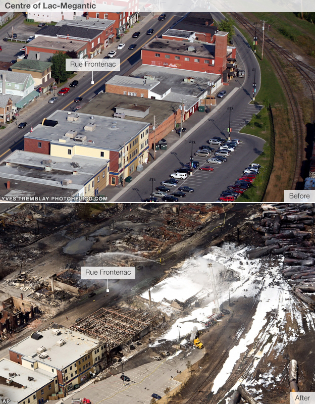 Before and after images  of Lac-Megantic