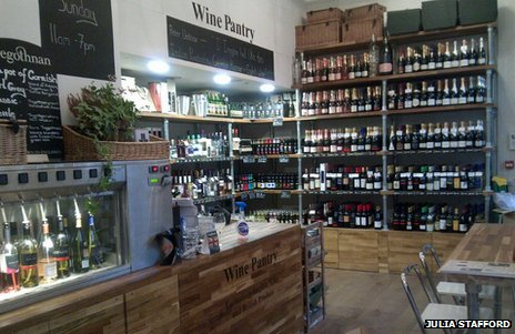 The interior of The Wine Pantry, a wine shop in London