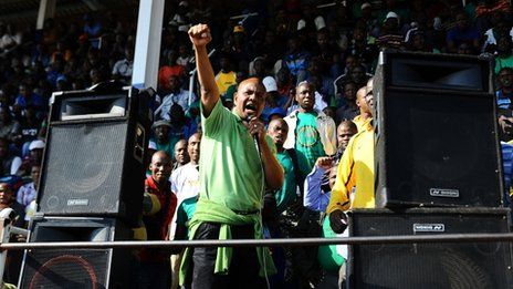 AMCU president Joseph Mathunjwa addresses thousands of Lonmin mine striking workers on 15 May 2013