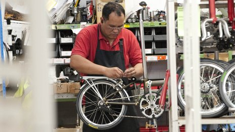 A Brompton being assembled by a worker at its Brentford factory
