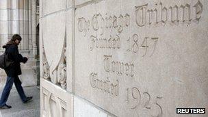 Chicago Tribune building entrance