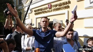 Alexei Navalny outside election commission office