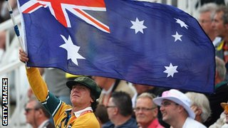 Australian fans support their team