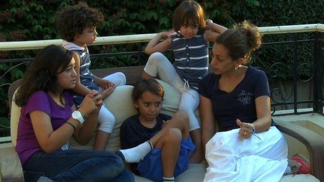 Nabily Hamdy and her four children before they left Egypt