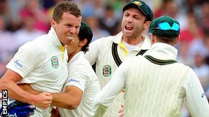 Peter Siddle celebrates