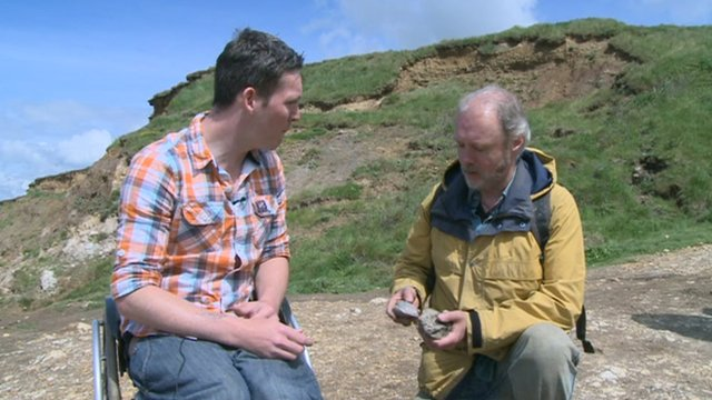 Martin meets a fossil finder on 'Dinosaur Island'.