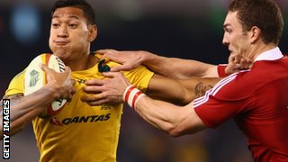 Israel Folau (left) and Sam Warburton