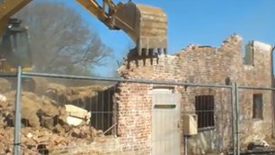 Demolition at Dorset Scouts site
