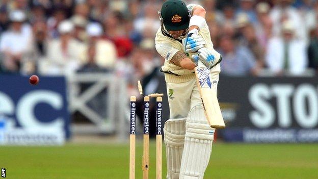 Australia captain Michael Clarke is bowled by James Anderson
