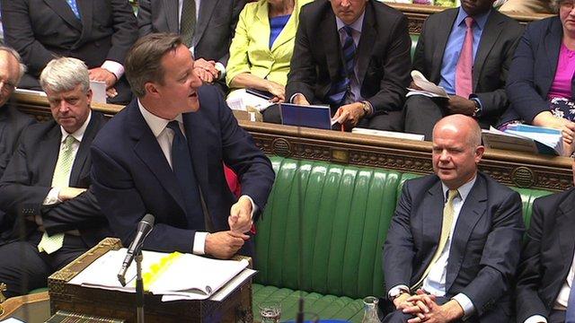 David Cameron and William Hague during PMQs