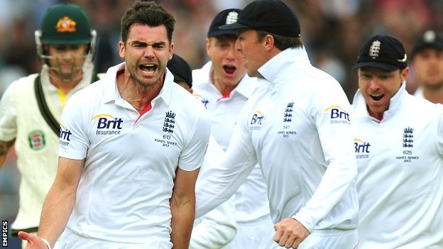 England's James Anderson celebrates the wicket of Australia captain Michael Clarke