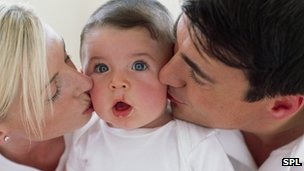 Couple kissing a baby on the cheeks
