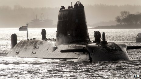 HMS Astute sailing up Gareloch on the Firth of Cylde