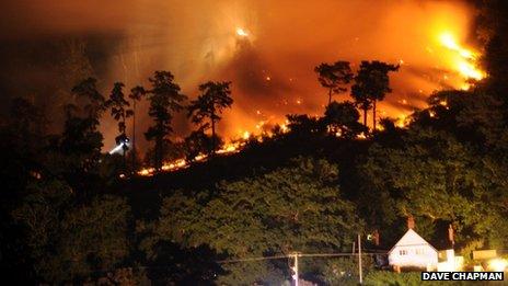 Grinshill woods fire