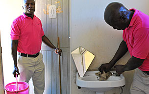 Dismas Omondi at the toilets at the High Court in Mombasa