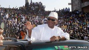Presidential candidate Ibrahim Boubacar Keita at the 26 Mars stadium in Bamako