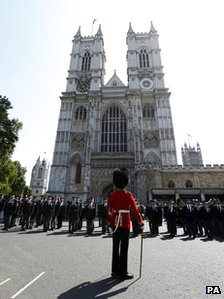 Korea veterans outside Westminster Abbey