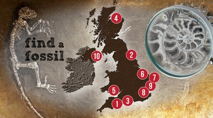 Map of places to find fossils in the UK.